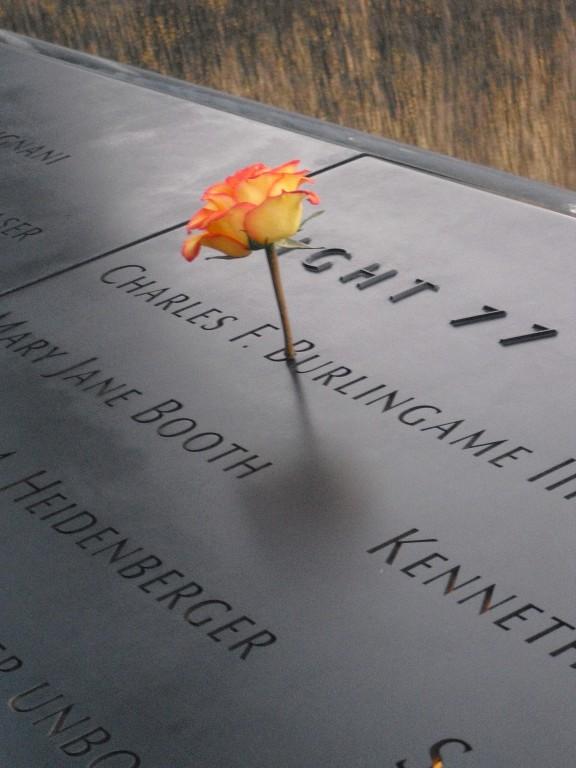 monument 911 met roos