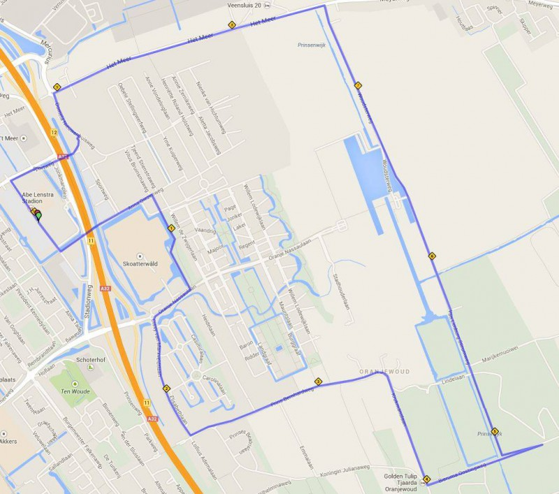 10 km route Ronde van Oranjewoud